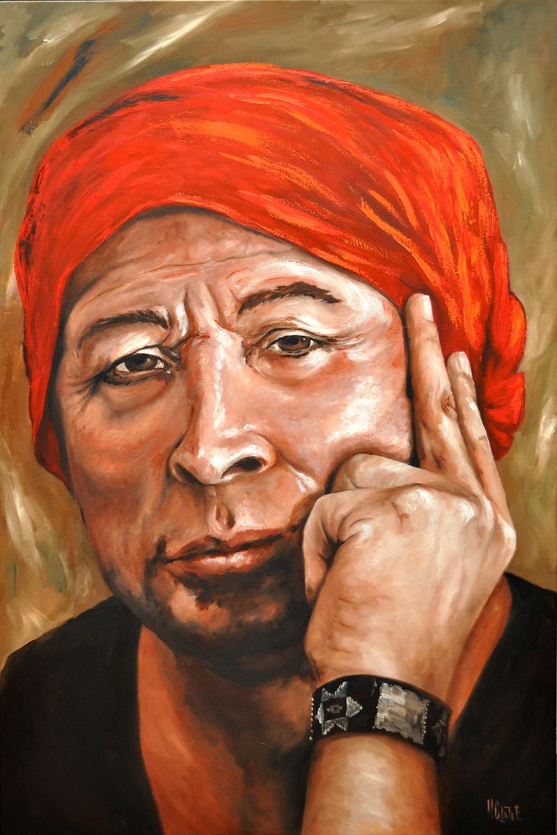 Pedro Lemebel óleo sobre tela de 80 x 120 cm.
